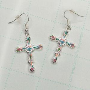 Best Silver Tone Mosaic Enamel Cross Earrings